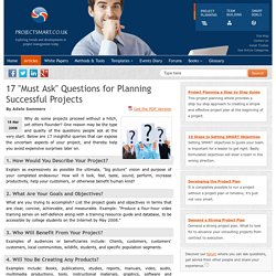 17 Must Ask Questions for Planning Successful Projects