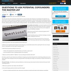 Questions to Ask Potential Cofounders: The Master List