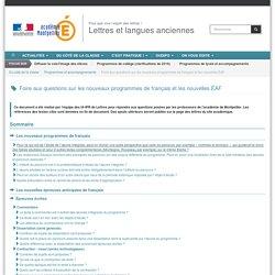 Foire aux questions sur les nouveaux programmes de français et les nouvelles ÉAF