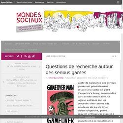 Questions de recherche autour des serious games