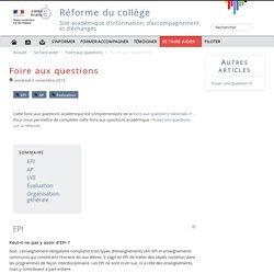 Foire aux questions - Réforme du collège