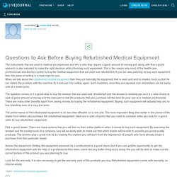 Questions to Ask Before Buying Refurbished Medical Equipment: curaindia