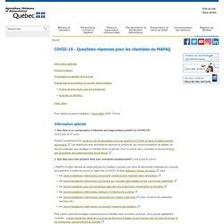 MAPAQ_GOUV_QC_CA - COVID-19 - Questions-réponses pour les clientèles du MAPAQ