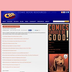 Comic Book Questions Answered Archive