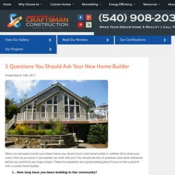 5 Questions You Should Ask Your New Home Builder