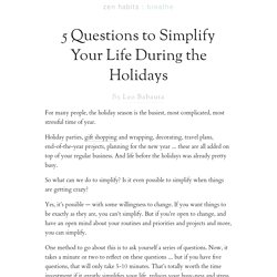 5 Questions to Simplify Your Life During the Holidays