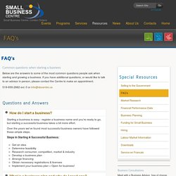 FAQ's - Common questions when starting a business - London Ontario Small Business Centre