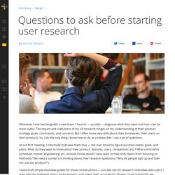 Questions to ask before starting user research