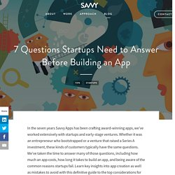 7 Questions Startups Need to Answer Before Building an App - Savvy Apps