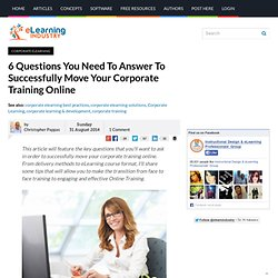 6 Questions You Need To Answer To Successfully Move Your Corporate Training Online