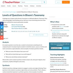 Levels of Questions in Bloom's Taxonomy: Teaching Methodoly Advice (Grades K-12) - TeacherVision