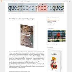 franck leibovici. des documents poétiques