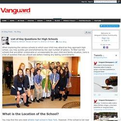 List of Key Questions for High Schools - Vanguard Online Community