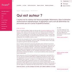 L'auteur, l'oeuvre, le droit d'auteur (par la SCAM)