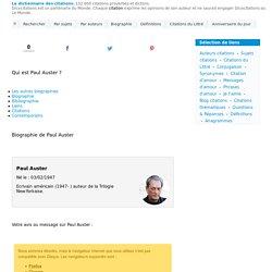 Qui est Paul Auster ? - ℹ - Sa biographie