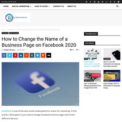 Quick Tips :How To Change Facebook Business Page Name