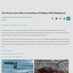 The Quick Learn Way to Creating a 3D Object With Babylon.js