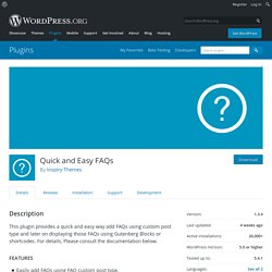Quick and Easy FAQs – WordPress plugin
