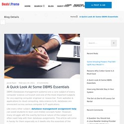 A Quick Look At Some DBMS Essentials - Deals1 Promo