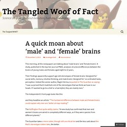 A quick moan about 'male' and 'female' brains | The Tangled Woof of Fact