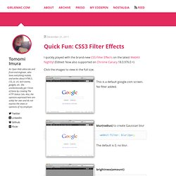 Quick Fun: CSS3 Filter Effects « GirlieMac! Blog