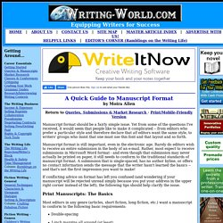 A Quick Guide to Manuscript Format