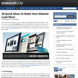 30 Quick Ideas to Make your Website Look Nicer
