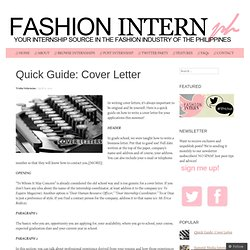 Quick Guide: Cover Letter  Fashion Design Cover Letter