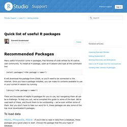 Quick list of useful R packages