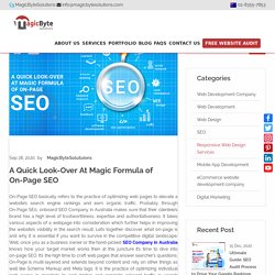 A Quick Look-Over At Magic Formula of On-Page SEO