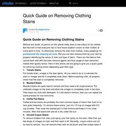 Quick Guide on Removing Clothing Stains