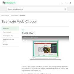 How to use Evernote Web Clipper
