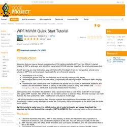 WPF/MVVM Quick Start Tutorial