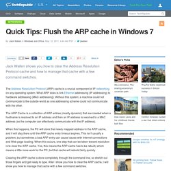Quick Tips: Flush the ARP cache in Windows 7