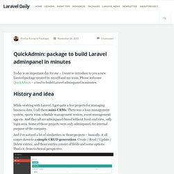 QuickAdmin: package to build Laravel adminpanel in minutes - Laravel Daily