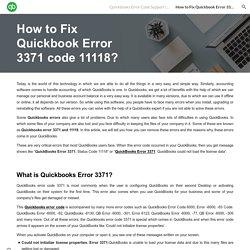 How to Fix Quickbook Error 3371 code 11118?