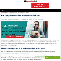 QuickBooks 2016 Discontinued will End on 31st May 2019