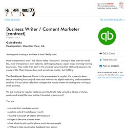 QuickBooks: Business Writer / Content Marketer (contract)