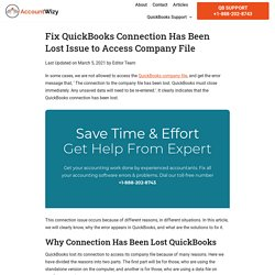 Fix QuickBooks Connection Has Been Lost Issue to Access Company File