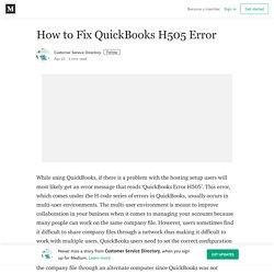 How to Fix QuickBooks H505 Error – Customer Service Directory