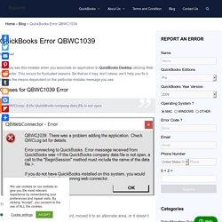 QuickBooks Desktop Error QBWC1039