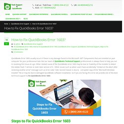 How to Fix QuickBooks Error 1603? Call 18002044122