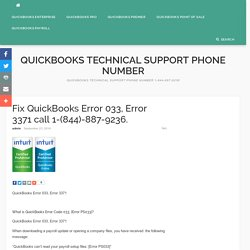 Fix QuickBooks Error 033, Error 3371 call 1-(844)-887-9236