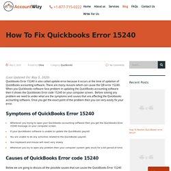 Quickbooks Error 15240 - How To Fix - Accountwizy.com