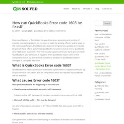 How can QuickBooks Error code 1603 be fixed?
