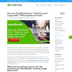 """How can QuickBooks Error """"Failed to send usage data"""" While Update be fixed?"""