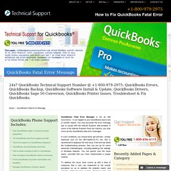 QuickBooks Fatal Error Message (800) 979-2975