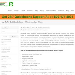 How To Fix Quickbooks Errors With Immediate Effects