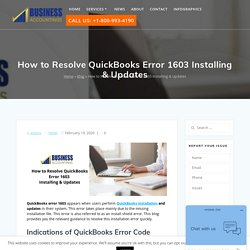 Resolve QuickBooks Error 1603