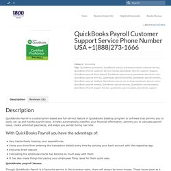 QuickBooks Payroll Customer Support Service Number USA +1(888)273-1666